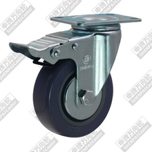 4 inch flat bottom movable brake rubber (grey) wheel