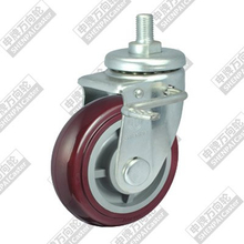 5 inch screw brake plastic core polyurethane wheel