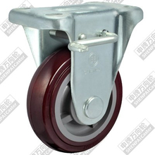 5 Inch Flat Bottom Fixed Brake Plastic Core Polyurethane Wheel