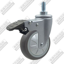 3 inch super soft rubber wheel with screw rod brake
